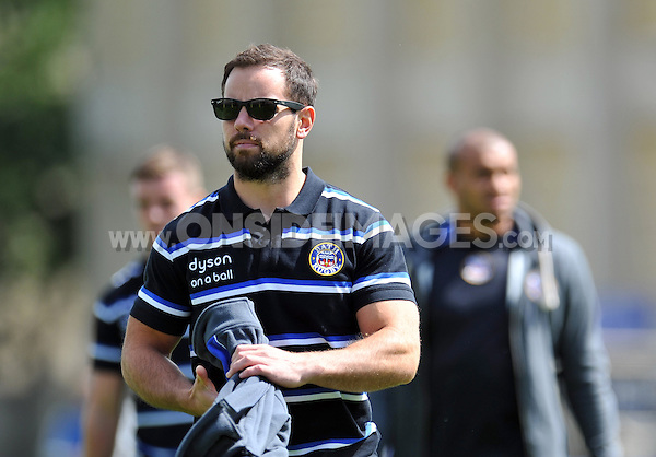 Micky Young looks on prior to the match. Pre-season friendly match, between Bath Rugby and the Scarlets on August 16, 2014 at the Recreation Ground in Bath, England. Photo by: Patrick Khachfe / Onside Images