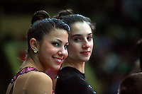 """Julie Zetlin and Gabriella Magid of USA, portrait taken during opening ceremony at 2008 World Cup Kiev, """"Deriugina Cup"""" in Kiev, Ukraine on March 22, 2008."""