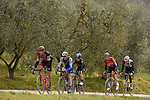 Greg Van Avermaet (BEL) BMC Racing, Zdenek Stybar (CZE) Quick-Step Floors, Michal Kwiatkowski (POL) Team Sky, Tim Wellens (BEL) Lotto-Soudal and Tom Dumoulin (NED) Team Sunweb climb gravel sector 11 Le Tolfe during the 2017 Strade Bianche running 175km from Siena to Siena, Tuscany, Italy 4th March 2017.<br /> Picture: La Presse/Fabio Ferrari | Newsfile<br /> <br /> <br /> All photos usage must carry mandatory copyright credit (&copy; Newsfile | La Presse)