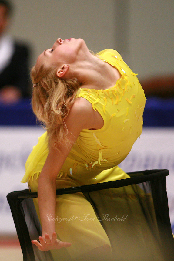 Inna Zhukova of Belarus expresses with vails  during gala exhibition at Burgas Grand Prix Rhythmic Gymnastics on May 7, 2006.   (Photo by Tom Theobald)