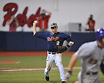 Ole Miss' Alex Yarbrough throws to first for an out vs. LSU in Oxford, Miss. on Friday, May 4, 2012. LSU won 4-3 in 13 innings.