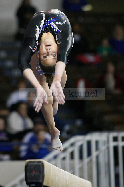 Junior Audrey Harrison performs on the balance beam at UK gymnastics vs. LSU at Memorial Coliseum in Lexington, Ky., on Friday, February 1, 2013. Harrison had the highest score for UK with 9.850. Photo by Tessa Lighty | Staff