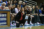 17 February 2013: Duke head coach Joanne P. McCallie coaches barefoot for the game for Samaritan's Feet charity. The Duke University Blue Devils played the Wake Forest University Demon Deacons at Cameron Indoor Stadium in Durham, North Carolina in a 2012-2013 NCAA Division I and Atlantic Coast Conference women's college basketball game. Duke won 81-70.