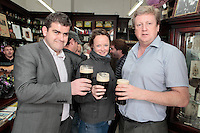 """26/7/2011. Porterhouse Celebrates Fifteen Years of Brewing with another Gold Medal. Pictured at the Sweny Chemist venue in Dublin celebrating are Geoff Percival, Emma Mc Namara and Frank Ennis.The Porterhouse Brewing Company is fifteen years old and to add to the celebrations they have been awarded a gold medal for their Plain Porter. The award, which is much sought after by brewers worldwide, was bestowed upon the Porterhouse's famous Plain Porter at the Brewing Industry International Awards, dubbed, """"The Brewing Oscars"""" in a glitzy ceremony at London's Guild Hall. It is the second time the Porterhouse has received this famous accolade. The first was in 1998 and again it was the Plain Porter that brought home the gold. The awards, with approximately eight hundred and fifty entries, are structured into nine categories with thirty-two classes and medals are extremely difficult to win. Picture Collins Photos"""