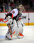 15 November 2008:  Philadelphia Flyers' goaltender Antero Niittymaki from Finland warms up prior to a game against the Montreal Canadiens in their first meeting in Montreal since the Flyers knocked the Canadiens out of the playoffs last season. The Canadiens, celebrating their 100th season, fell to the visiting Flyers 2-1 at the Bell Centre in Montreal, Quebec, Canada. ***Editorial Sales Only***..Mandatory Photo Credit: Ed Wolfstein Photo *** Editorial Sales through Icon Sports Media *** www.iconsportsmedia.com