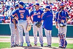 13 March 2014: New York Mets pitcher Daisuke Matsuzaka stands to be relived on the mound during a Spring Training game against the Washington Nationals at Space Coast Stadium in Viera, Florida. The Mets defeated the Nationals 7-5 in Grapefruit League play. Mandatory Credit: Ed Wolfstein Photo *** RAW (NEF) Image File Available ***