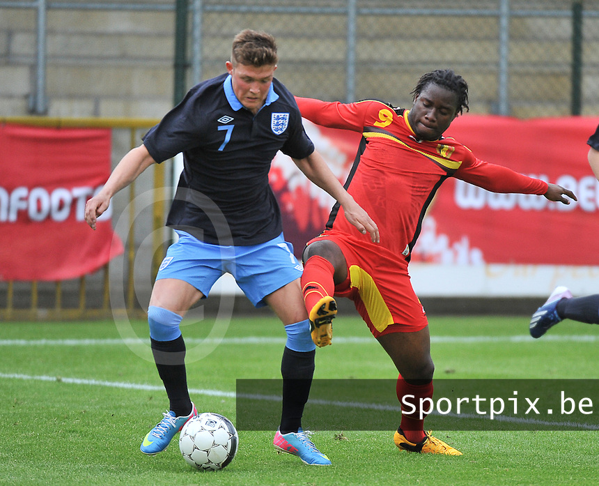 Belgium U19 - England U19 : Maximilian Clayton (7) and Nathan Kabasele (9).foto DAVID CATRY / Nikonpro.be