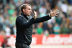 St Johnstone v Celtic&hellip;20.08.16..  McDiarmid Park  SPFL<br />Brendan Rodgers gives instructions to tighten up play<br />Picture by Graeme Hart.<br />Copyright Perthshire Picture Agency<br />Tel: 01738 623350  Mobile: 07990 594431