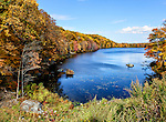 Lake Massawippa, located on Route 6 in Orange County, New York, east of Woodbury, on an autumn day