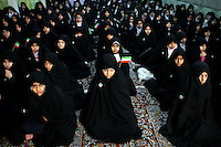 Girls, all members of Iran's Basij Islamist militia. The volunteer militia was set up by Iran's late revolutionary leader Ayatollah Ruhollah Khomeini to defend the 1979 Islamic revolution. Although its exact strength is unknown, observers estimate that hundreds of thousands of young and old Iranian men and women are members of the nationwide network.