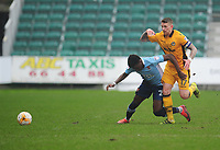 Blackpool's Bright Osayi-Samuel under pressure from Newport County's Scot Bennett<br /> <br /> Photographer Kevin Barnes/CameraSport<br /> <br /> The EFL Sky Bet League Two - Saturday 18th March 2017 - Newport County v Blackpool - Rodney Parade - Newport<br /> <br /> World Copyright &copy; 2017 CameraSport. All rights reserved. 43 Linden Ave. Countesthorpe. Leicester. England. LE8 5PG - Tel: +44 (0) 116 277 4147 - admin@camerasport.com - www.camerasport.com
