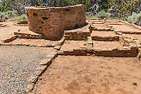 Ruins at the Far View Site, remnants of villages on the mesa above cliff dwellings at Mesa Verde National Park in southwestern Colorado.