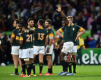 Tendai Mtawarira of South Africa waves to the crowd after the match. Rugby World Cup Pool B match between South Africa and the USA on October 7, 2015 at The Stadium, Queen Elizabeth Olympic Park in London, England. Photo by: Patrick Khachfe / Onside Images