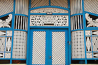 Detail of trellis or lattice work on a house in North Colombo. ..Most examples of this traditional work have now been taken down and replaced or destroyed. 2004