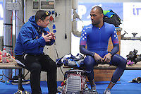 ISU World Cup  Berlijn 290117<br /> Shany Davis - coach Ryan Shimabukuro<br /> &copy; Fotopersburo Martin de Jong