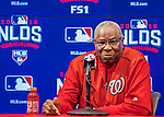 7 October 2016: Washington Nationals Manager Dusty Baker addresses the media prior to the first game of the NLDS against the Los Angeles Dodgers at Nationals Park in Washington, DC. The Dodgers edged out the Nationals 4-3 to take the first game of their best-of-five series. Mandatory Credit: Ed Wolfstein Photo *** RAW (NEF) Image File Available ***