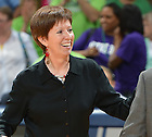 Mar 20, 2012; Head coach Muffet McGraw smiles as she leaves the court after the 73-62 win over California in the second round of the 2012 NCAA women's basketball tournament...Photo by Matt Cashore/University of Notre Dame