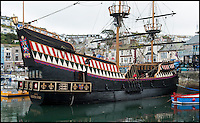 BNPS.co.uk (01202 558833)<br /> Pic: PhilYeomans/BNPS<br /> <br /> Pirates beware - the tiny ship is equipped with six cannons.<br /> <br /> Yours for &pound;360k - Full size replica of Sir Francis Drake's legendary ship the Golden Hind.<br /> <br /> Sir Francis Drake's famed Elizabethan galleon, in which he circumnavigated the globe, is a floating museum in Brixham harbour in Devon.<br /> <br /> The 120ft wooden ship is an exact remake of the flagship which Drake sailed round the world from 1577 to 1580, the first Englishman ever to circumnavigate the globe.<br /> <br /> The boat, which was built in 1988, is the second of two replica Golden Hinds which have taken pride of place in Brixham, Devon, since the 1954.<br /> <br /> The current owner, Simon Read, inherited the boat from his father John who bought the original replica in 1970 and ran it until 1988 when it was replaced by a new version.<br /> <br /> Above decks it boasts two square-rigged masts each with iconic 'crow's nests', and six canons.