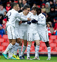 LIVERPOOL, ENGLAND - Easter Monday, April 1, 2013: Tottenham Hotspur's Cristian Ceballos celebrates scoring the first goal against Liverpool during the Under 21 FA Premier League match at Anfield. (Pic by David Rawcliffe/Propaganda)