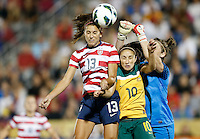 Commerce City, Colorado - Wednesday September 19, 2012; The US WNT defeated the National team of Australia 6-2 during an International friendly game at Dick's Sporting Goods Park.  Alex Morgan (13) scores a goal on a header against Australia.