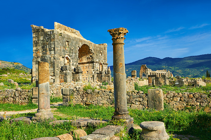 The Arch of Caracalla, built in 217 by the city's governor, Marcus Aurelius Sebastenus, to honour the emperor Caracalla and his mother Julia Domna.Volubilis Archaeological Site, near Meknes, Morocco