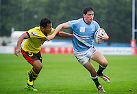 Honacio Rossanigo of Argentina in possession. FISU World University Championship Rugby Sevens Men's 7th/8th/9th place play-off between Malaysia and Argentina on July 9, 2016 at the Swansea University International Sports Village in Swansea, Wales. Photo by: Patrick Khachfe / Onside Images