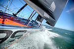Onboard the IMOCA Open 60 Alex Thomson Racing Hugo Boss during a training session before the Vend&eacute;e Globe in the English Channel..The Vend&eacute;e Globe is a round-the-world single-handed yacht race, sailed non-stop and without assistance.