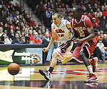 "Mississippi's Marshall Henderson (22) and Arkansas' Fred Gulley (12) chase the ball at the C.M. ""Tad"" Smith Coliseum in Oxford, Miss. on Saturday, January 19, 2013. Mississippi won 76-64. (AP Photo/Oxford Eagle, Bruce Newman)"