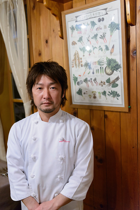 Chef Junnosuke Nishida of Al-che-cciano, an Italian restaurant that serves dishes using local mountain vegetables. Tsuruoka, Yamagata Prefecture, Japan, April 9, 2016. The city of Tsuruoka in Yamagata Prefecture is famous for its sansai mountain vegetable cuisine. These foraged grasses, fungi and vegetables are also used by the mountain ascetics of the Shugendo religion.