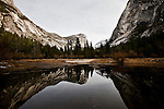 Winter scenes in Yosemite Valley located in the Yosemite National Park..Mirror Lake reflection.