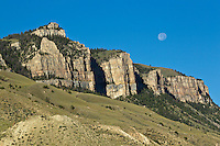 Moon setting of Sheep Mountain in the Shoshone National Forest Wyoming