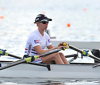 Hamilton, NEW ZEALAND.  GBR LW4X, Andrea DENNIS . Lightweight women's quadruple sculls. 2010 World Rowing Championships on Lake Karapiro, Tuesday - 02.11.2010, [Mandatory Credit Peter Spurrier:Intersport Images].