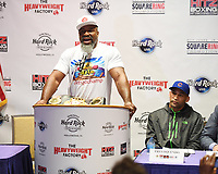 HOLLYWOOD FL - MAY 09: Two time Heavyweight World Champion Shannon Briggs and Three time title challenger Fres Oquendo attend a press conference for the fight on June 3rd Briggs Vs Oquendo at Hard Rock Live held at the Seminole Hard Rock Hotel & Casino on May 9, 2017 in Hollywood, Florida. Credit: mpi04/MediaPunch