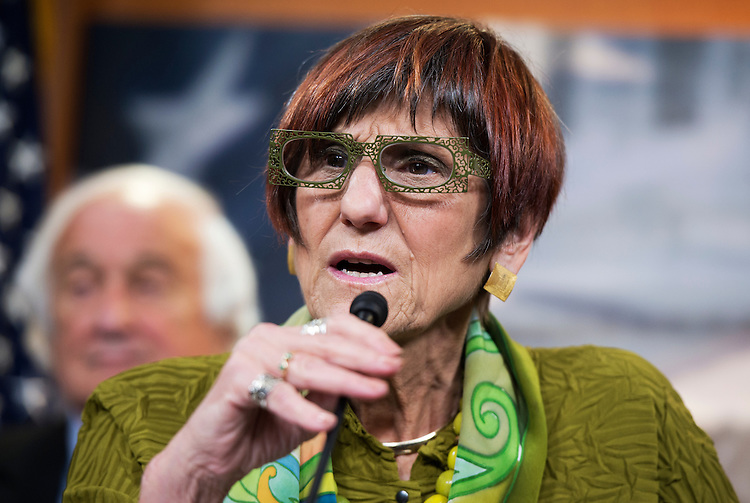 "UNITED STATES - JULY 29: Rep. Rosa DeLauro, D-Conn., conducts a news conference in the Capitol Visitor Center, July 29, 2014, to unveil the No Federal Contracts for Corporate Deserters Act, which aims to ""curb corporate tax dodging."" (Photo By Tom Williams/CQ Roll Call)"