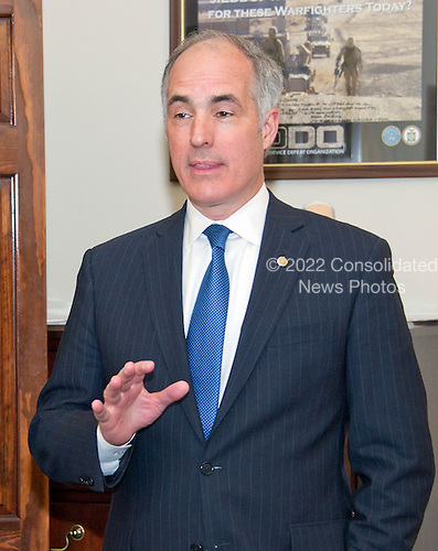 United States Senator Bob Casey, Jr. (Democrat of Pennsylvania) awaits the arrival of Judge Merrick Garland, chief justice for the US Court of Appeals for the District of Columbia Circuit, who is US President Barack Obama's selection to replace the late Associate Justice Antonin Scalia on the US Supreme Court prior to a photo op on Capitol Hill in Washington, DC on Tuesday, March 22, 2016.   <br /> Credit: Ron Sachs / CNP