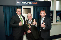 Pictured are from left, Karl McCartney, MP, who unveiled the plaque that marked the reopening of Lincoln Sation Ticket Office, the Right Worshipful Mayor of Lincoln Counillor Patrick Vaughan and Andy Moore, Head of Stations for East Midlands Trains