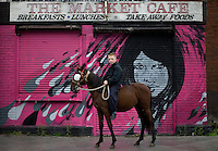 Smithfield horse market, Dublin, Ireland.<br /> The monthly Smithfield Horse market is one of Dublin's oldest traditions. It is a place where kids from deprived areas of the city buy and sell horses. In recent years the Smithfield area has been redeveloped which creates a striking contrast to the horsemarket, The introduction of The Control of Horses Act has effectively outlawed these kids, and the closure of the market is a real possibility.