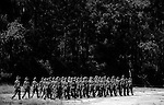 Elaine Neal and the rest of her platoon march in line as they proceed to field exercises at Parris Island on Sept. 29, 2009. Greg Kahn/Staff