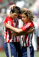 20 May 2007: Chivas players Francisco Mendoza hugs teammate Ante Razov during a 1-1 tie for MLS Chivas USA vs. Los Angeles Galaxy pro soccer teams at the Home Depot Center in Carson, CA.