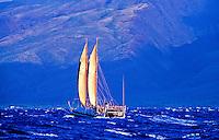 Hawaiian sailing canoe the Hokulea in the open waters of the Pacific ocean