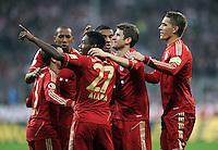 Fussball DFB Pokal:  Saison   2011/2012  2. Runde  26.10.2011 FC Bayern Muenchen - FC Ingolstadt 04 Jubel nach dem Tor zum 2:0 David Alaba , Thomas Mueller , Nils Petersen (v. li., FC Bayern Muenchen)