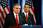 Chicago, IL - December 19, 2008 -- United States Representative Ray LaHood (Republican of Illinois), left, speaks at a press conference with United States President-elect Barack Obama, right, after being nominated as Secretary of Transportation Friday afternoon, December 19, 2008 at The Drake Hotel in Chicago, Illinois.  .Credit: Anne Ryan - Pool via CNP
