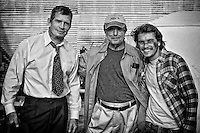 (L-R) Actor Thomas Haden Church, Director William Friedkin and actor Emile Hirsch on the set of the feature film 'Killer Joe' in New Orleans, LA.