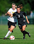 28 August 2009: University of Montreal Carabins' mystery player Number Three in action against the University of Vermont Catamounts during the 2009 TD Bank Women's Soccer Classic at Centennial Field in Burlington, Vermont. The Catamounts defeated the Carabins 3-2 in sudden death overtime. Mandatory Photo Credit: Ed Wolfstein Photo