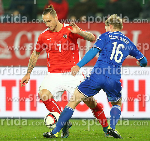 12.10.2015, Ernst Happel Stadion, Wien, AUT, UEFA Euro 2016 Qualifikation, Oesterreich vs Liechtenstein, Gruppe G, im Bild Marko Arnautovic (AUT) und Martin Rechsteiner (LIE) // during the UEFA EURO 2016 qualifier group G between Austria and Liechtenstein at the Ernst Happel Stadion, Vienna, Austria on 2015/10/12. EXPA Pictures © 2015, PhotoCredit: EXPA/ Thomas Haumer