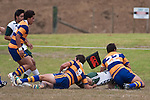 Enoka Kipisi dives over in the corner to score Manurewas only try late in the game. Counties Manukau Premier Club Rugby game between Manurewa and Patumahoe played at Mountfort Park Manurewa on Saturday 3rd April 2010..Patumahoe won 26 - 8 after leading 14 - 3 at halftime.