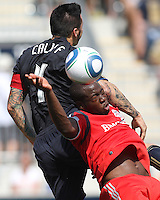 Danny Califf #4 of the Philadelphia Union clashes with Nana Attakora #3 of Toronto FC during an MLS match at PPL stadium in Chester, PA. on July 17 2010. Union won 2-1 with a last minute penalty kick goal.