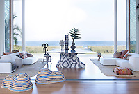 Behun designed the loggia's table, which has a base of hand-cut ceramic mosaic tiles and a Macasar ebony top; the Living Divani sofas are upholstered in a Holly Hunt linen, the wicker stools are by Christian Astuguevieille, and the custom rugs are made from African raffia ceremonial cloths
