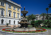 Italy, Liguria, Italian Riviera, Alassio: fountain at the Piazza della Liberta