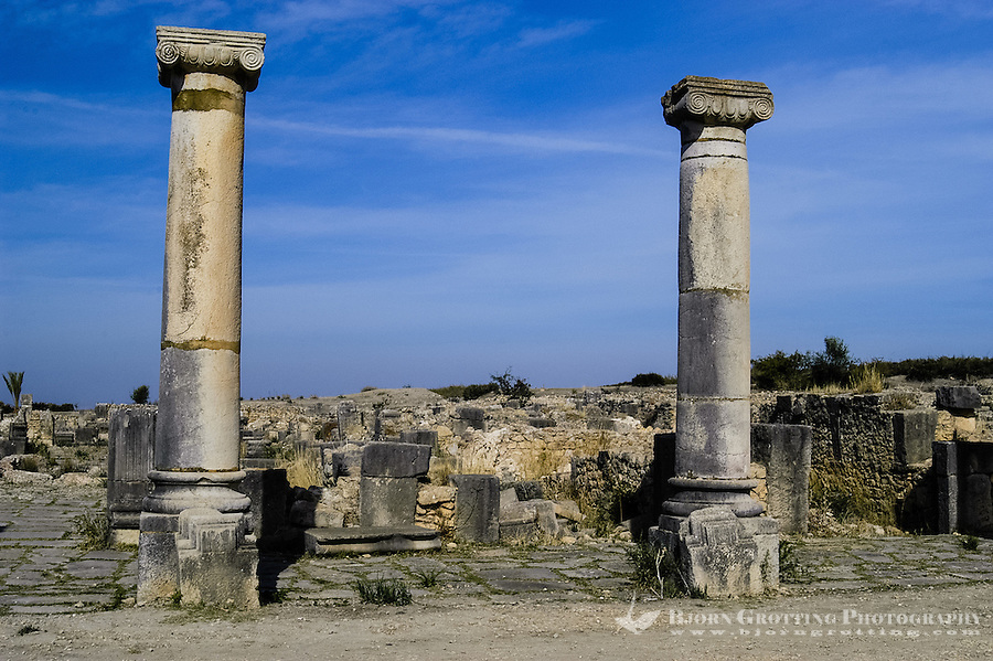 Volubilis is an archaeological roman site in Morocco situated near Moulay Idriss. The main street.